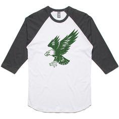theIndie Bald Eagle Stencil (Green) 3/4-Sleeve Raglan Baseball T-Shirt