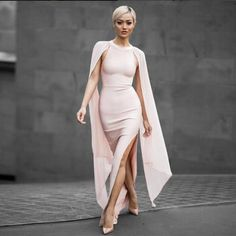 """Adycee -""""Our Favorite"""" Classy and Sassy Bandage Bodycon Dress With Cape: Pink or Black"""