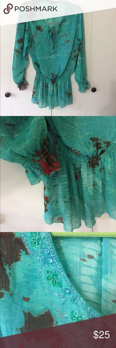 Super cute Blouse in Turquoise Turquoise Blouse with Bead Embellishing Tops Blouses