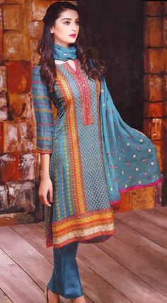 Buy Turquoise Embroidered Crinkle Chiffon Salwar Kameez by Motifz Clothes Winter Collection