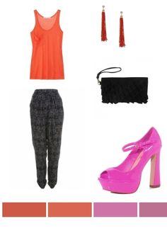 tangerine, black, pink