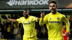 Adrian Lopez of Villarreal shortly after tapping in Denis Suarez's cross in the Europa League semi-final against Liverppol.