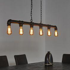 Industriële Hanglamp 'Brock' 6-lamps, industriële hanglamp, stoere lamp