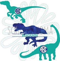 SVG, PNG, EPS - Boy Monogram, Dino Monogram, Dinosaur Monograms (Raptor, T-rex, & Brontosaurus) - Digital vector download for craft cutters