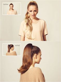 before after ponytail hair styles with clip in extensions