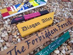 Harry Potter Themed Directional Signs, Harry Potter Party Decor, Hogwarts, Hogsmeade, Diagon Alley, The Forbiddden Forest, Kings Cross. $75.00, via Etsy.
