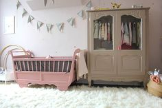 One Room Challenge : Week Six « Nursery The Reveal Wardrobe Makeover, Cute Wallpaper Backgrounds, Little Girl Rooms, Kidsroom, Baby Gear, Decoration, Baby Room, Cribs, New Baby Products