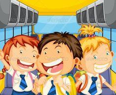 Happy Kids Inside the School Bus