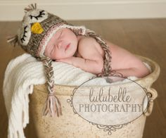 baby with owl hat