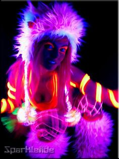 UV Fabric Wraps with Furry Cuffs Pink/Orange Light Painting, Body Painting, Ultra Festival, Rave Gear, Black Light Posters, Raver Girl, Neon Party, Neon Glow, Cybergoth