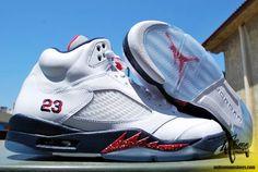 0e1d99246174 Air Jordan Retro 5 - White Varsity Red-Midnight Navy Sneakers Nike