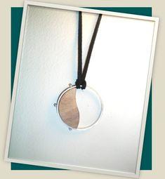 Handmade pendant silver 950 olive tree wood