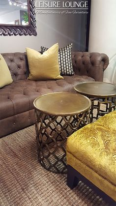 Leisure Lounge manufactures custom-made upholstered furniture! Visit our showrooms in Durban, Hillcrest and Umhlanga or see our stunning range right here. Touch Of Gold, Upholstered Furniture, Lounge, Brass, Luxury, Bedroom, Table, Design, Home Decor
