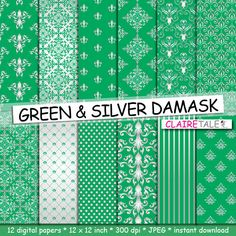 Damask digital paper GREEN & SILVER DAMASK with by ClaireTALE
