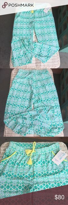 "🆕NWT Cabana Life Casual SPF 50 pants NWT Cabana Life SPF 50 pants- adorable pattern in green with yellow throughout. Drawstring waist, front pockets, and ruching detail at ankles!!! With the SPF 50 in the material you're legs are protected from the suns rays.Waist 13"" is elastic and material is stretchy, length 27.5"" Rise from center to top of waist band 11""✅I ship same or next day ✅Bundle for discount Cabana Life Swim Coverups"