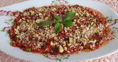 Antakya'nın Vazgeçilmezi Kahvaltılık Meze Tarifi Appetizer Recipes, Appetizers, Grains, Brunch, Food And Drink, Rice, Beef, Turkish Cuisine, Recipies