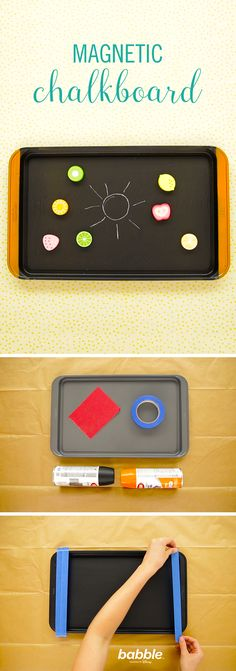 Cure your little one's impending boredom in the backseat with this DIY Magnetic Chalkboard. All you really need is a cookie sheet, sand paper, and spray paint. It's a great car hack that conquers the dread of a long car ride.