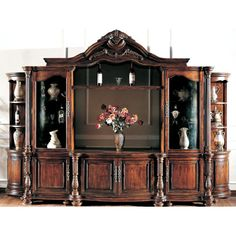 Large Ornate Mahagany Wall Unit TV Entertainment Center in Entertainment Units, TV Stands Home Entertainment Centers, Entertainment Center Furniture, Cool Tv Stands, Living Room Tv, The Unit, Entertaining, Woodworking Plans, Woodworking Workshop, Woodworking Tools