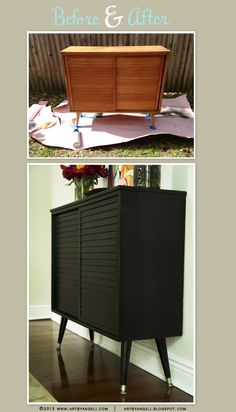 Before and After Wood Cabinet. Refinishing furniture.