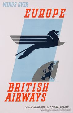 Vintage BOAC Flights to Britain and Europe Airline Poster Print A3//A4