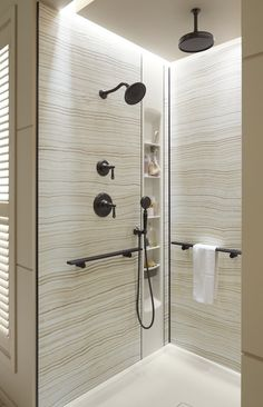 Stone-patterned Choreograph walls and shower barres let you design an affordable personalized shower.
