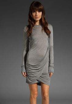Great draping details on a sexy slim-fit dress with all the comfort of a giant, broken-in T-shirt.  Pencey Standard Drape Dress, $99.