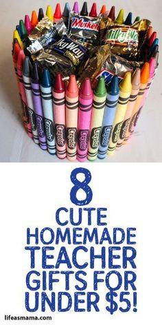 8 Cute Homemade Teacher Gifts For Under $5! #teachergifts #giftsforteachesr #cheapteachergifts