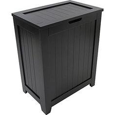 Redmon Contemporary Country Laundry Hamper, Black