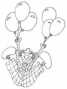 Dibujo para colorear con payaso elevándose gracias a los globos que sostiene.