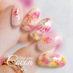 Nail atelier Coconの投稿写真(NO:) Bridal Nails, Wedding Nails, Fancy Nails, Pretty Nails, Spring Nails, Summer Nails, Nail Atelier, Sculpted Gel Nails, Kawaii Nail Art
