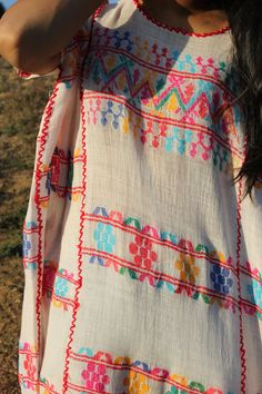 Vintage Handwoven Tunic Huipil Natural Cotton