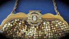 Whiting Davis Purse Goldtone Mesh Evening Rhinestone Clasp from gracefulantiques.Ruby Lane.com