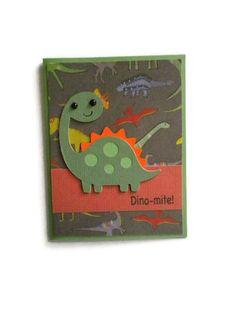 Dinosaur Card, Childrens cards, Kids cards. $3.50, via Etsy.