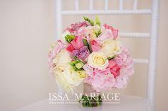 Buchet mireasa hortensia roz pal si trandafiri albi IssaEvens Valcea