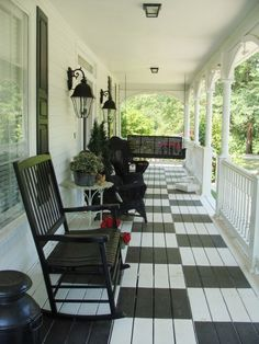 """County Porch - Painted Checkerboard style - Would look awesome painted a washed denim blue & dirty white for a farmhouse to give it that """"old & worn"""" feel."""
