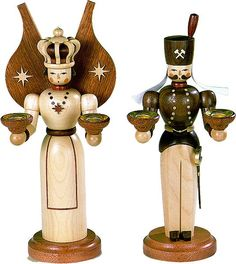 Angel and miner - two traditional Christmas figures from the Erzgebirge