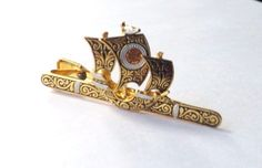 VINTAGE DAMASCENE TIE CLIP Gold Black Spanish GALLEON Ship FABULOUS! FREE PP #TieBarClipClasp
