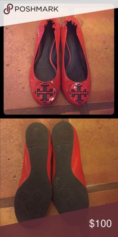 Tory Burch red patent Reva flats, size 6 Nearly new condition. No scuffs, scratches or worn down soles. Get this beautiful shiny pair of red flats for a great price! Tory Burch Shoes Flats & Loafers