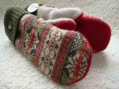 Felted Sweater Wool Mittens RED GREEN Fair Isle by WormeWoole, $33.00