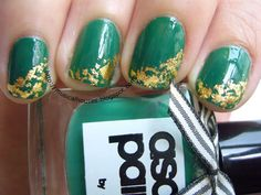 St Patrick's Day Gold Leaf Nail Art! - Of Faces and Fingers