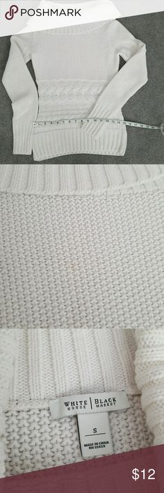 WHBM white sweater EUC!! Pure white and lovely.  There is a very light smudge on the front, see pic #2. However it is really unnoticeable when you wear off shoulder. It is too warm for me. White House Black Market Sweaters