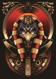 Egyptian God Ra - Vector Illustration on Behance Egyptian Mythology, Egyptian Symbols, Egyptian Goddess, Osiris Tattoo, Egypt Concept Art, Egypt Tattoo, Ancient Egypt Art, God Tattoos, Geniale Tattoos