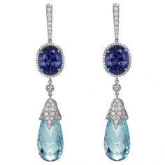Aquamarine, diamond and sapphire earrings by Chopard. [I'll say it again: if I have to source it, I won't repine it.]