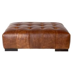 Arden Modern Classic Tufted Terracotta Leather Rectangle Coffee Table Ottoman | Kathy Kuo Home
