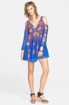 Free People 'Penny Lover' Chiffon Cold Shoulder Mini Dress available at #Nordstrom