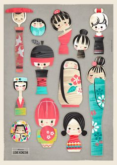 Scandinavian Kokeshi by Charuca Vargas, via Behance