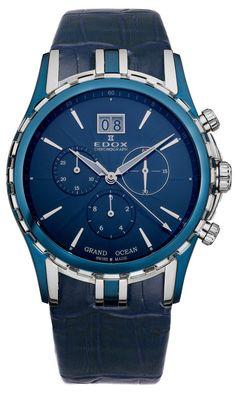 Edox Grand Ocean Chronograph Big Date Blue PVD & Steel