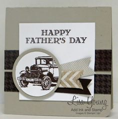 Stampin' Up! Guy Greetings stamp set with Adventure Bound paper. Handmade Father's Day card in neutral tones.