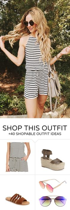 summer outfits  White Striped Romper
