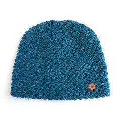 Bonnet bleu grosse maille 100% alpaga de teinte par Ulalatika
